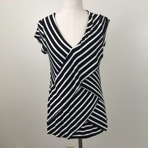 Ny Collection Layered V-neck striped top